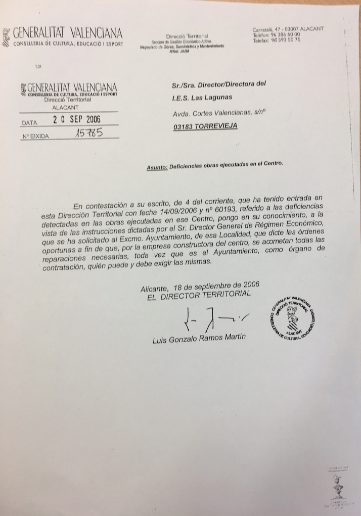 ESCRITO GENERALITAT VALENCIANA EN RESPUESTA DE LAS DEFICIENCIAS DEL IES LAS LAGUNAS